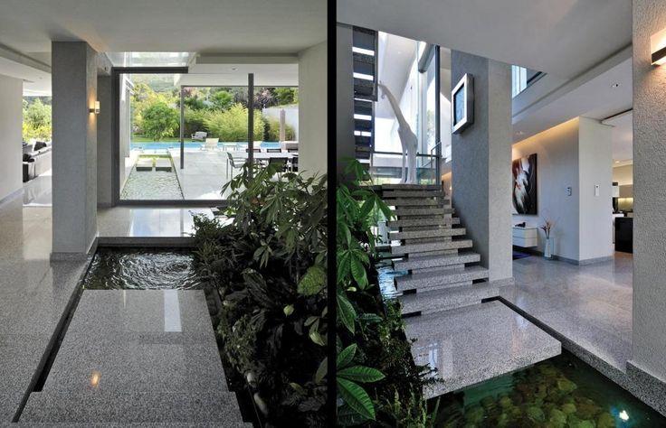 Indoor waterfalls and water feature
